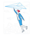 businesswoman flying on a paper plane - line vector image vector image