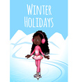 Cheerful African American girl posing on skates vector image