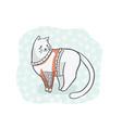 christmas cat in embroidery sweater clipart hand vector image vector image