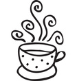 Cup of coffee with swirls vector image vector image