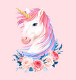 cute unicorn with gold horn vector image