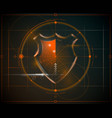 cyber security shield with digital data background vector image vector image