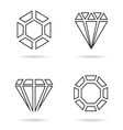 diamond line icon jewellery set in black vector image