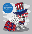 doggy character fun independence day america vector image vector image