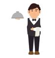 elegant waiter character icon vector image vector image