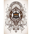 ephemera label with baroque elements and heraldic vector image vector image