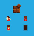 flat icon bitter set of dessert chocolate bar vector image vector image