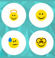 flat icon emoji set of tears angel pleasant and vector image vector image