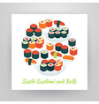 Flat Style Circle Set of Food Sushi Sashimi and vector image vector image