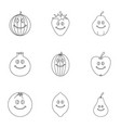 fruit character icon set outline style vector image
