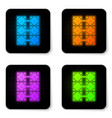 glowing neon mining farm icon isolated on white vector image