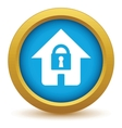 Gold lock house icon vector image vector image