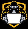 gorilla sign mascot vector image vector image
