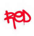 graffiti red word sprayed in red over white vector image