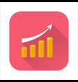 growing chart flat icon vector image vector image