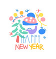 happy new year logo template colorful hand drawn vector image vector image