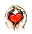 human hands hold a red heart - a symbol love vector image