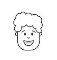 line man head with hairstyle design vector image vector image