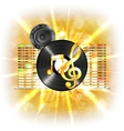 music in flash treble clef speaker vinyl vector image