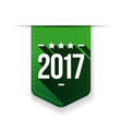 New Year 2017 green ribbon vector image
