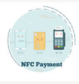 nfc payment concept in line art style vector image