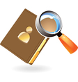 Notebook and lens concept vector image