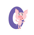 number zero with cute cartoon pig isolated on vector image vector image