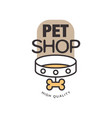 pet shop logo template design brown badge for vector image vector image