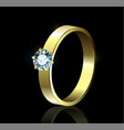 ring with diamond on black background vector image vector image