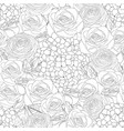 rose hydrangea and ranunculus outline seamless vector image