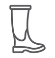 rubber boot line icon footwear and protection vector image vector image