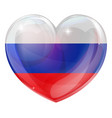 russian flag love heart vector image vector image