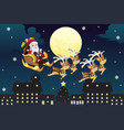 santa riding sleigh with reindeers vector image