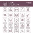 sauna steam bath line icons bathroom equipment vector image vector image