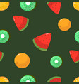 seamless pattern oranges kiwi and watermelon vector image vector image