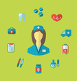 set trendy medical icons in flat style vector image vector image