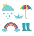 spring rain icons set vector image