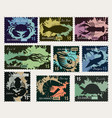 stamps on theme underwater sea animals vector image vector image