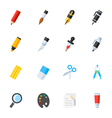 Stationery and Painting tools icons vector image vector image