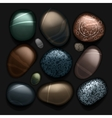 Stones pebble collection isolated on black vector image vector image