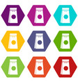 tea packed in a paper bag icon set color vector image vector image