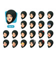 the fourth set of muslim woman cartoon avatars vector image vector image