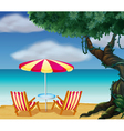 The stripe beach umbrella and the two chairs vector image vector image