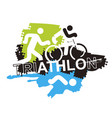 triathlon race icons background vector image