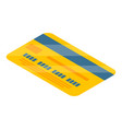 yellow credit card icon isometric style vector image vector image