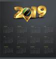 2019 calendar template tanzania country map vector image vector image