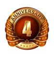 4 years anniversary golden label with ribbon vector image vector image
