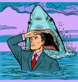 a successful businessman is not afraid a shark vector image