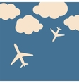 Abstract background with airplanes and clouds vector image vector image