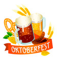 ale beer oktoberfest logo isometric style vector image
